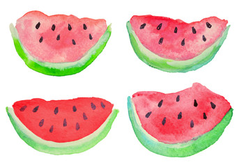 Set with watercolor slices of watermelon on white background