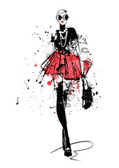 Fashion girl in sketch-style. Retro poster. Œ