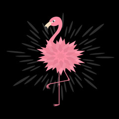 Pink flamingo. Pink flower body. Shining effect. Exotic tropical bird. Zoo animal collection. Cute cartoon character. Decoration element. Flat design. Black background. Isolated.