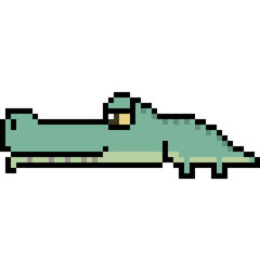 vector pixel art crocodile
