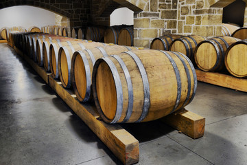 Wine barrels and metal cisterns in dark cellar