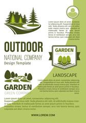 Gardens and parks landscape design vector poster
