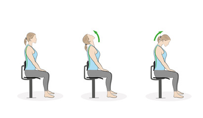 exercises for the neck and head. vector illustration