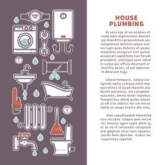 House plumbing vector poster or infographics template for bathroom and kitchen