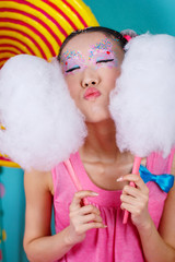 funny Korean girl with big cotton candy