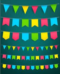 Vector flag garland for festival celebration decor
