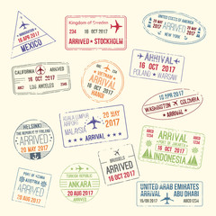 Vector icons of travel city passport stamp