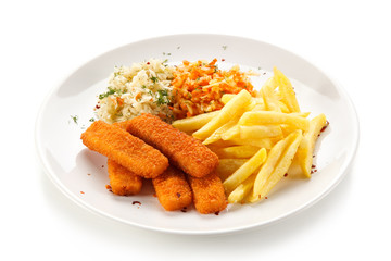 Fish sticks with french fries on white background