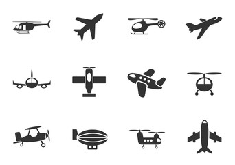 airplanes icon set