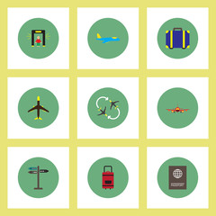 Collection of stylish vector icons in colorful circles airport concept