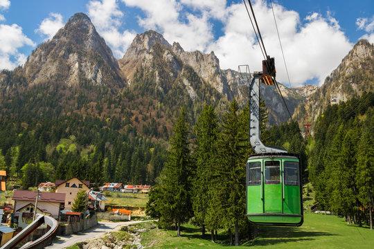 Cable car in Bucegi National park, Carpathian mountain, Romania. Discover Romania concept.