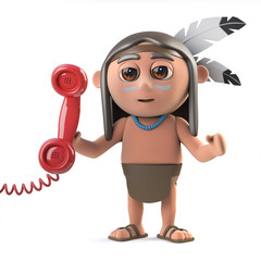 3d Funny cartoon Native American Indian character answers the phone