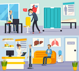 Male Doctor Character Flat Compositions