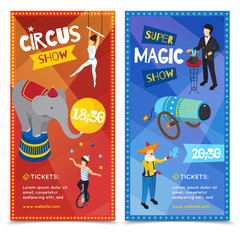 Circus Vertical Isometric Banners