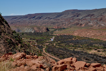 San Juan river valley and Comb wash scenic view on U.S. Route 163 National Scenic Byway