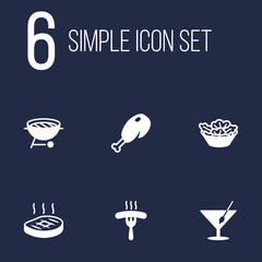 Set Of 6 Eat Icons Set.Collection Of Lettuce, Frankfurter, Barbecue And Other Elements.