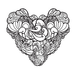 Vector decorated hand drawn heart illustration, tattoo. May be used for coloring