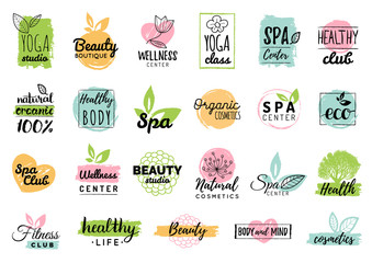 Vector health and beauty care logtypes. Spa,yoga centers badges. Wellness signs. Hand drawn tags and elements set.