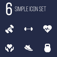 Set Of 6 Bodybuilding Icons Set.Collection Of Heart In Hand, Weights, Dumbbell Elements.