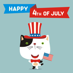 Happy 4th of july! Funny kitten cat with flag USA for independence day. Greeting card for independence day USA.