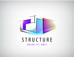 Vector abstract colorful geometric structure, abstract logo, icon isolated.