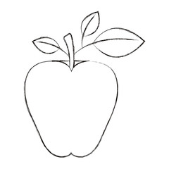 sketch blurred silhouette image apple fruit with stem and leaves vector illustration
