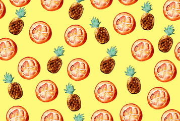 Beautiful pattern with hand drawn elements - cute pineapples and orange slices watercolor on yellow background. Illustration.
