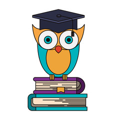 colorful image of owl knowledge with cap graduation on stack of books vector illustration
