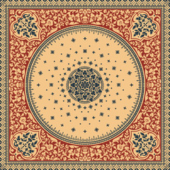Victorian floral paisley medallion ornamental rug vector. Ethnic mandala towel frame. Vintage flower tile. Textile, greeting business card, coloring book, phone case print