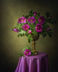 Still life with wild roses