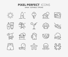 summer thin line icons 1