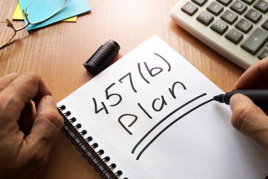 457(b) plan concept. Retirement savings account.