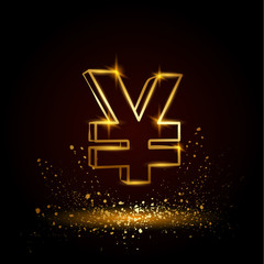 Gold yuan symbol. Currency linear vector illustration on a black background.