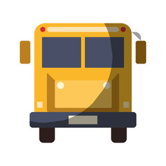 realistic colorful shading image front view school bus with wheels vector illustration