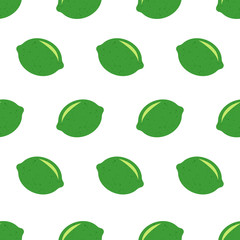 Seamless pattern with limes. Fresh limes background, hand drawn icons. Doodle wallpaper vector. Colorful seamless pattern with fresh fruits collection. Decorative illustration, good for printing