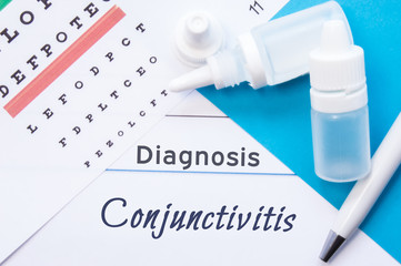 Ophthalmology diagnosis Conjunctivitis. Snellen (eye) chart, two bottles of eye drops ( medications) lying on notebook with inscription Conjunctivitis diagnosis on the desk in ophthalmologist office