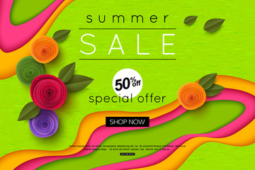 Summer sale background cut paper art style for banner, poster, promotion, web site, online shopping, advertising. Vector illustration with paper rose flowers.