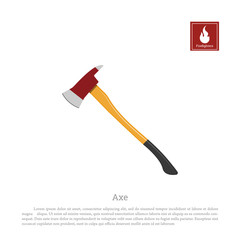 Firefighters axe on a white background. Fireman's hatchet in realistic style. Vector illustration