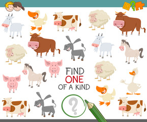 find one of a kind of farm animals