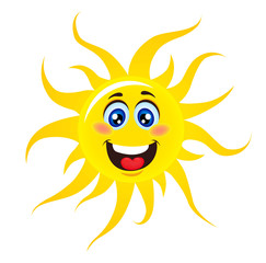 Character Sun with happy smile. Sun isolated on white. Vector stock.