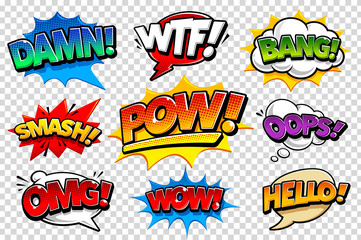 Acrylic Prints Pop Art Comic Speech Bubbles