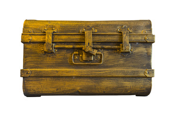 iron chest box isolate on white background, vintage style