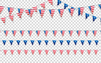 4th of July. Decoration set of garlands for USA national holidays, events, banners, posters, web.. Fourth of July vector illustration.
