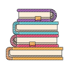 color crayon stripe image of stack collection of books with bookmark vector illustration