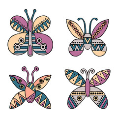 Set of vector hand drawn decorative stylized childish butterflies. Doodle style, graphic illustration. Ornamental cute hand drawing in pink, blue colors. Series of doodle, cartoon, sketch