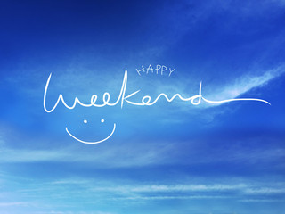 Happy weekend word and smile face on blue sky and cloud