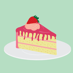 Slice of strawberry Cake on plate