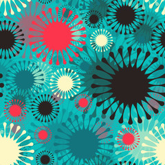 abstract fireworks seamless pattern in blue shades