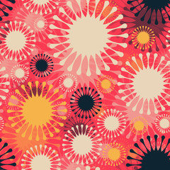 abstract fireworks seamless pattern in red shades