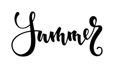 Summer. Hand drawn calligraphy and brush pen lettering. design for holiday greeting card and invitation of seasonal summer holidays, summer beach parties, tourism and travel
